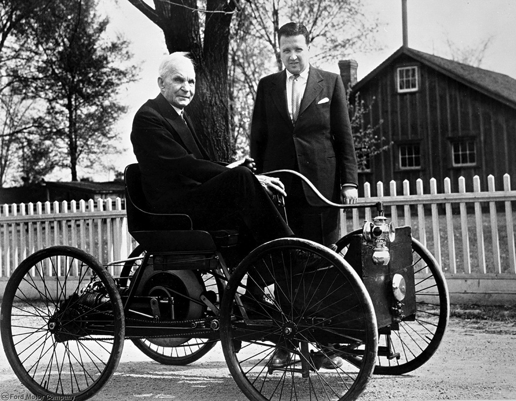 1946 Henry Ford and Henry Ford II with Quadricycle